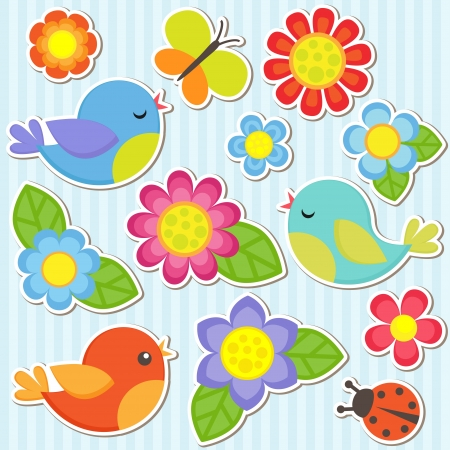 retro sticker: Vector flowers, birds, butterfly and ladybug