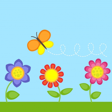 Background with flowers and flying butterfly Vector