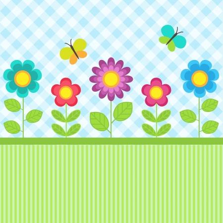 childish: Фон с цветами и летающих бабочек