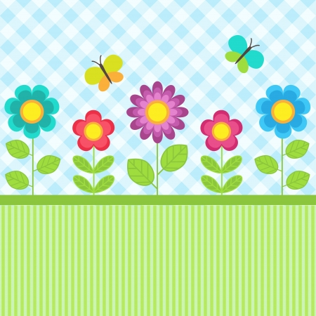 Background with flowers and flying butterflies Çizim