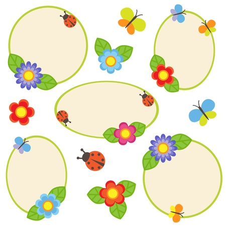 Frames with flowers and butterflies Vector