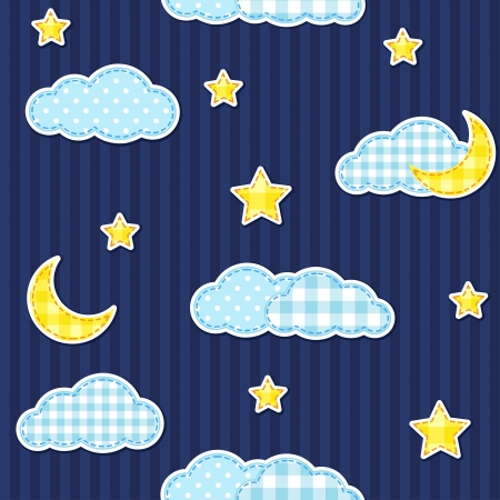 Night sky seamless pattern Vector
