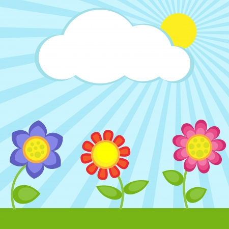 Background with flowers and frame Vector