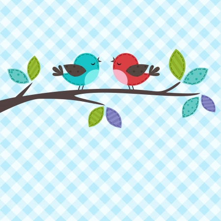 backgrounds with couple of birds on the branch Vector