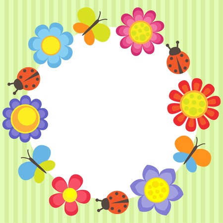 Frame with flowers, ladybugs and butterflies