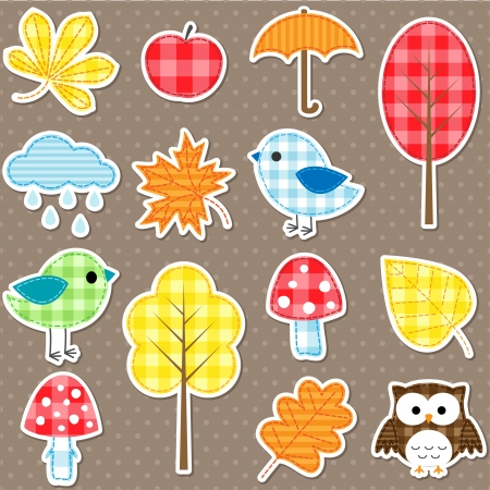 Autumn stickers - trees, leafs, mushrooms and birds Vector