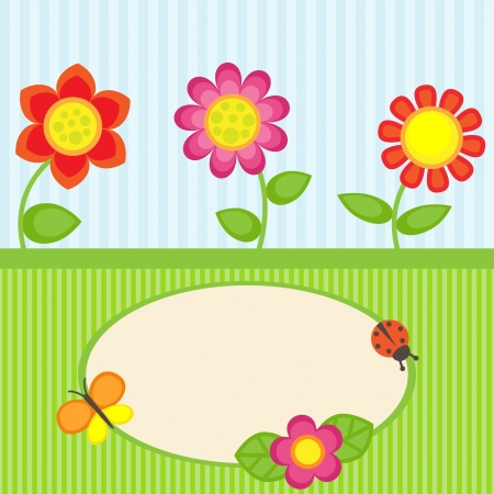 day nursery: Background with flowers and frame Illustration