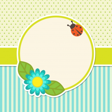 Frame with flower and ladybug Vector