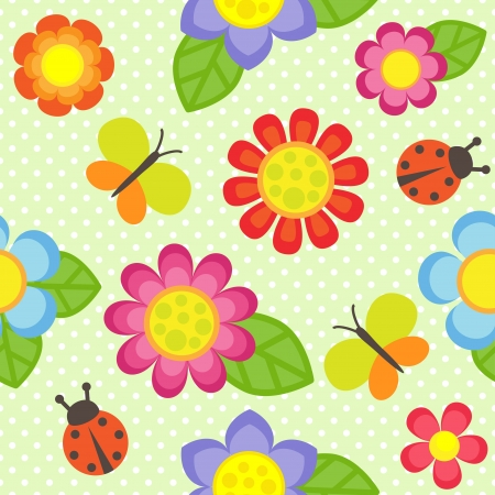 pattern with flowers, butterflies and ladybugs Vector