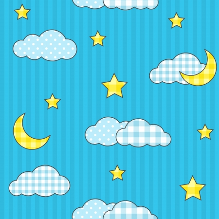Seamless pattern with moon, stars and clouds Vector