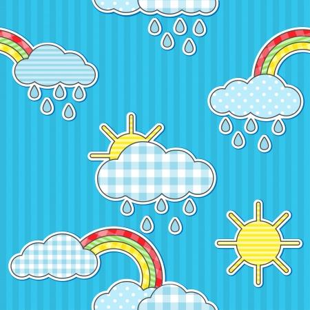 Seamless rain pattern with sun and rainbows