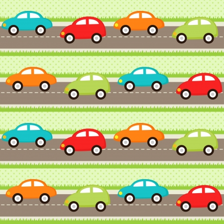 Seamless pattern with cartoon cars Çizim