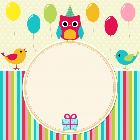 birthday decoration: Birthday card with birds