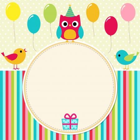 hibou: Carte d'anniversaire avec des oiseaux