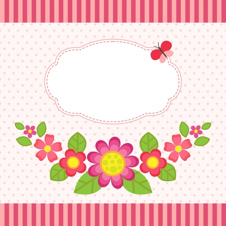 baby stickers: Floral card with a frame Illustration