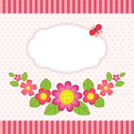 children photo frame: Floral card with a frame Illustration