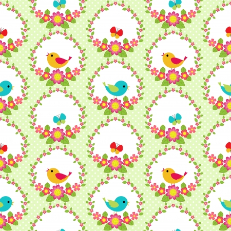 Seamless pattern with flowers and birds Vector