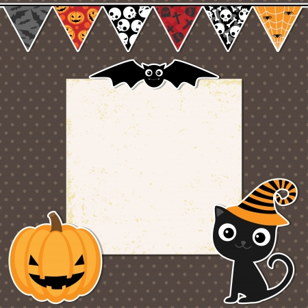 Cute Halloween party card with space for text Çizim