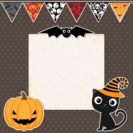 calabaza caricatura: Linda fiesta de Halloween tarjeta con espacio para el texto Vectores