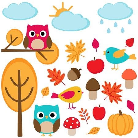 owl cartoon: Autumn set  - tree, leafs, mushrooms and birds