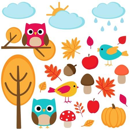 oiseau dessin: Ensemble d'automne - arbres, feuilles, champignons et les oiseaux