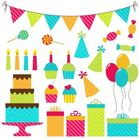 Set of birthday party elements