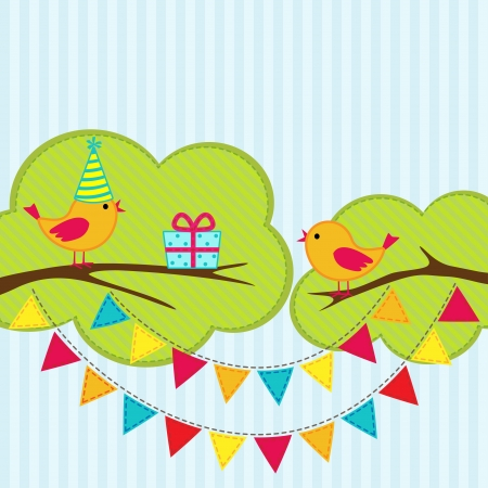 party streamers: Birthday party card with cute birds on branches