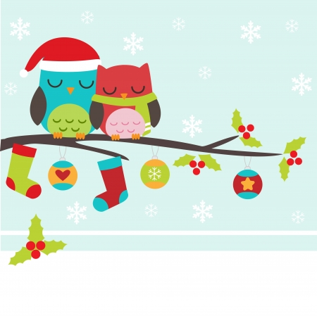 Christmas card with couple of owls  Vector