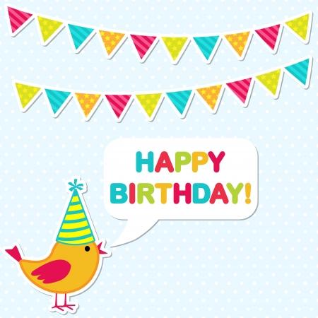birthday party card with cute bird