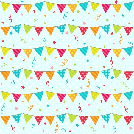 Seamless pattern with bunting Çizim