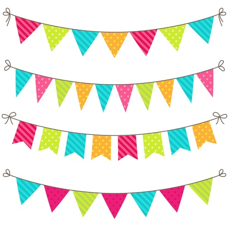 set of colorful and bright bunting Çizim