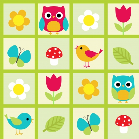 Seamless  pattern with birds and flowers Vector