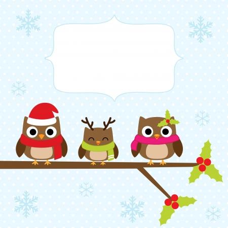 oiseau dessin: Carte de Noël avec la famille de hiboux