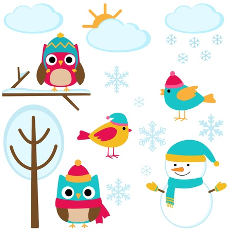 owl cartoon: Cute set of winter elements Illustration
