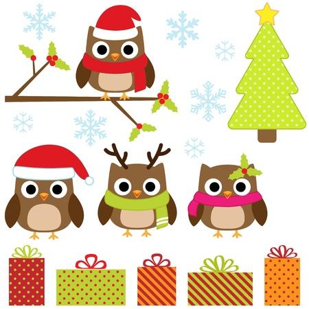 buhos y lechuzas: Cute Christmas vector conjunto con los buhos divertidos