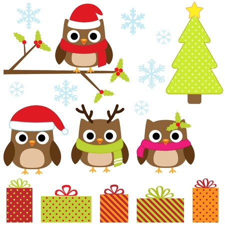 christmas tree set: Cute Christmas vector set with funny owls