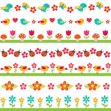 flowers cartoon: Cute seamless borders with birds and flowers