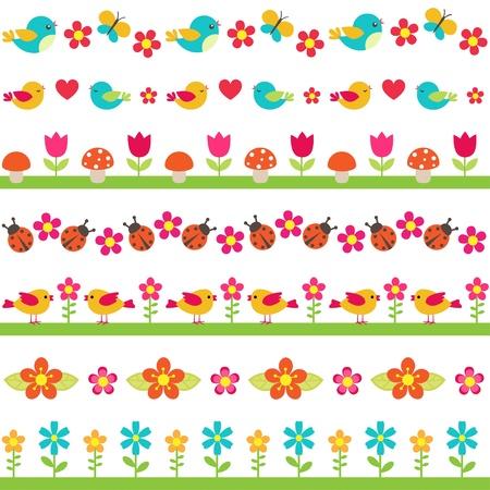 flores de cumpleaños: Lindo fronteras inconsútiles con los pájaros y las flores Vectores