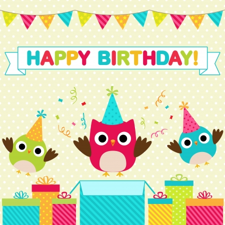 Vector birthday party card with funny birds Çizim