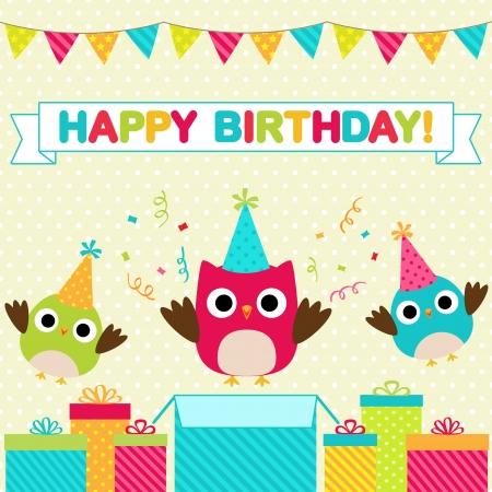 globos de cumpleaños: Vector fiesta de cumpleaños tarjeta con los pájaros divertidos
