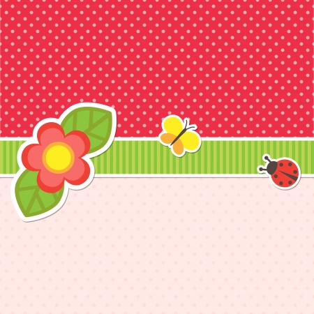 Frame with flower, butterfly and ladybug Stock Vector - 16256922