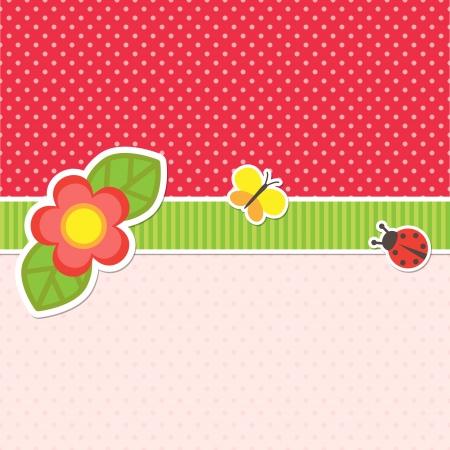 Rahmen mit Blume, Schmetterling und Marienkäfer Illustration