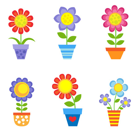 spring summer: Set of bright vector flowers in pots