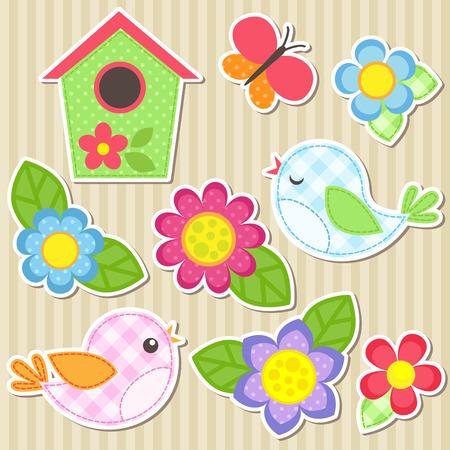 mariposa caricatura: Conjunto de flores del vector, pájaros, mariposa y casa para pájaros
