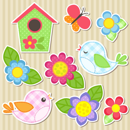 daisy pink: Set of vector flowers, birds, butterfly and birdhouse