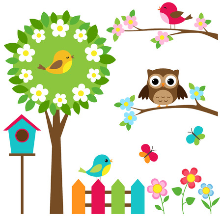 Vector conjunto de pájaros, flores y mariposas