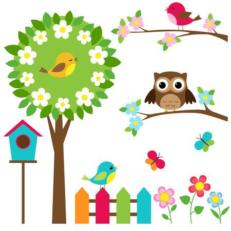 spring: Vector conjunto de pájaros, flores y mariposas