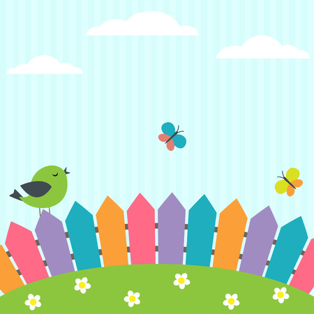 Background with bird and flying butterflies Çizim