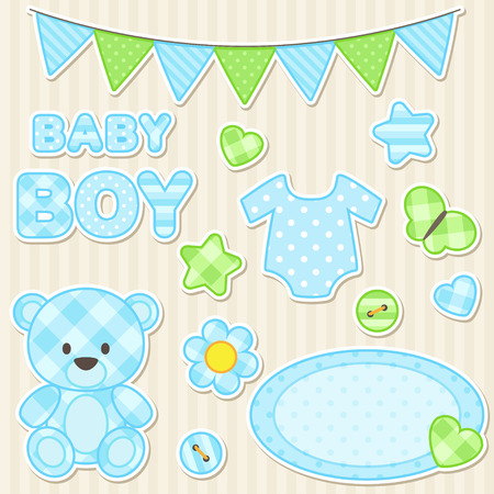 Vector set of scrapbook elements for boy