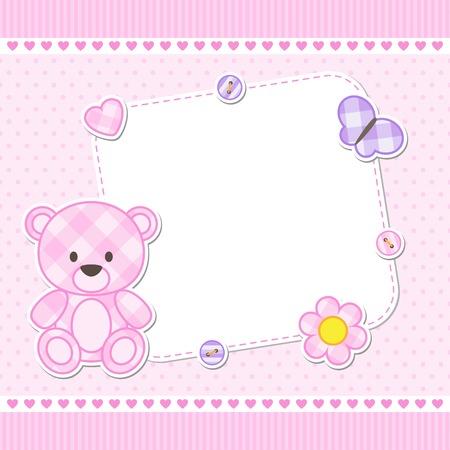 Kaart met roze teddybeer voor meisje. Vector sjabloon met plaats voor uw tekst